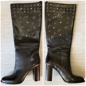 Nine West Quatrina Grommet Stacked Heel Tall Boot